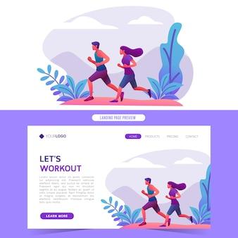 남자와 여자 조깅 웹 사이트 홈 방문 페이지 및 배너에 대 한 공원 벡터 일러스트 레이 션에서 건강 한 운동 실행