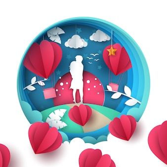 Man and woman love illustration