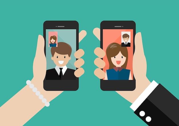 男性と女性はビデオ通話のコンセプトを作ります。ビジネスでのビデオ通話。