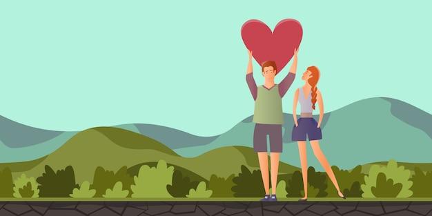 山の風景の中のロマンチックなデートの男女