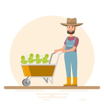 남자와 여자 농장 안에 야채 심기