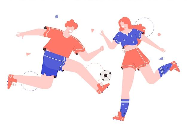 Мужчина и женщина играют в футбол, футбол.