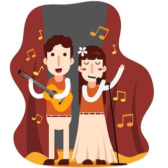 男性と女性がギターを弾いて歌う