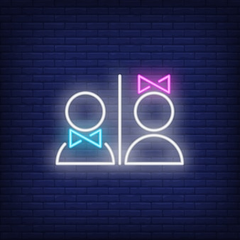 Man and woman restroom neon sign