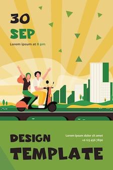 남자와 여자는 도시에서 자전거를 타고. 다리, 건물, 고층 빌딩. 플랫 플라이어 템플릿