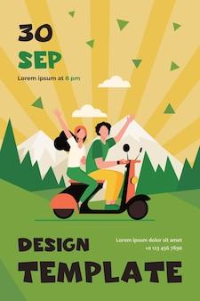 남자와 여자는 산에서 오토바이를 타고. 숲, 자연. 플랫 플라이어 템플릿