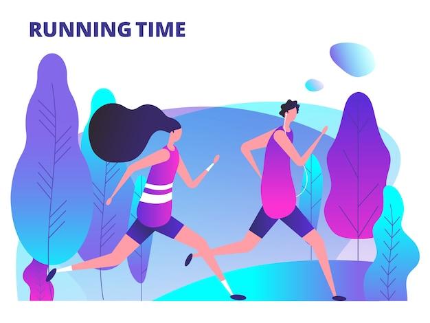 男と女が公園で走っています。フィットネストレーニングと健康な体のライフスタイルの図