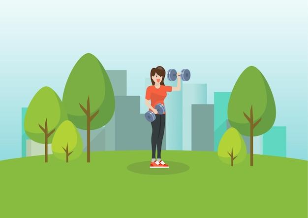 남자와 여자는 공공 공원에서 실행. 삽화