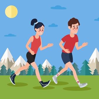 Мужчина и женщина бегут по лесу и в горах