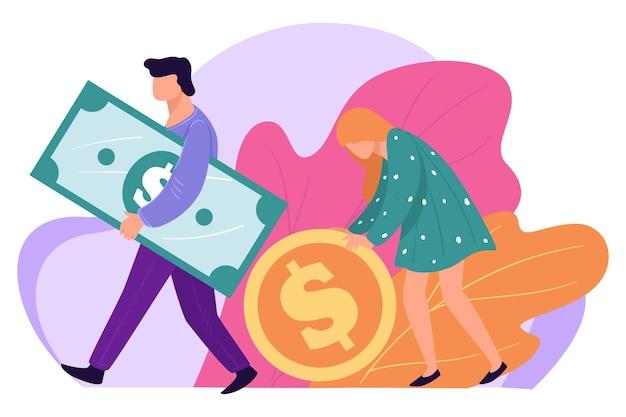 将来のためにお金を節約する男性と女性、紙幣とコインで男性と女性