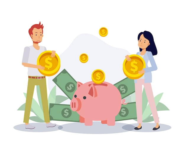 돼지 저금통에 돈을 절약하는 남자와 여자. 경제 및 재정적 독립, 돈 개념 절약. 평면 벡터 2d 만화 캐릭터 그림입니다. 프리미엄 벡터