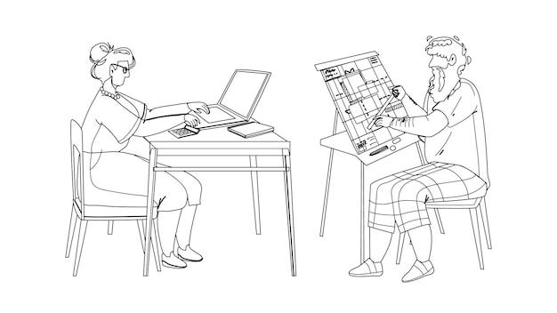 男と女シニア一緒に働く黒線鉛筆画ベクトル。ラップトップで働く祖母と祖父のエンジニアは青写真計画で働きます。高齢者の職業イラスト