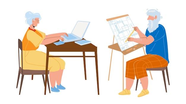 남자와 여자 수석 작업 공생 벡터입니다. 노트북에서 일하는 할머니와 청사진 계획을 가지고 일하는 할아버지 엔지니어. 노인 캐릭터 직업 평면 만화 일러스트 레이 션