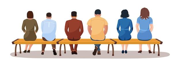 後ろからベンチビューで一緒に座っている男性と女性。さまざまな若い大人のキャラクターのグループは、白で隔離公共交通機関のベクトル図を待っている列に座って公園の座席に休む