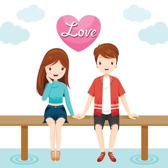남자와 여자 다리, 해피 발렌타인 데이에 함께 앉아