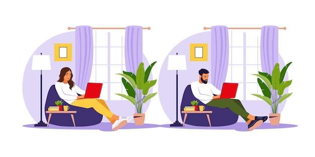 남자와 여자는 콩 가방의 자에 노트북과 함께 앉아. 작업, 공부, 교육, 가정에서 작업에 대한 개념 그림. 평면 그림.