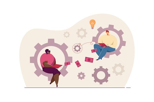 남자와 여자는 기어 바퀴에 노트북과 함께 앉아. 평면 벡터 일러스트 레이 션을 함께 일하는 노동자. 배너, 웹 사이트 디자인 또는 방문 웹 페이지에 대한 팀워크, 비즈니스, 브레인스토밍 개념