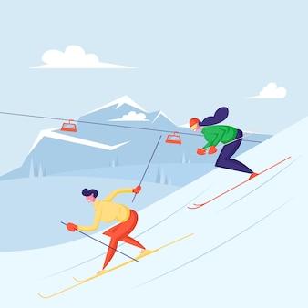 Мужчина и женщина-лыжники на спусках в зимний сезон