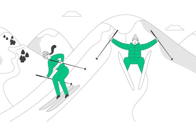 Мужчина и женщина лыжники катаются на лыжах скоростной спуск