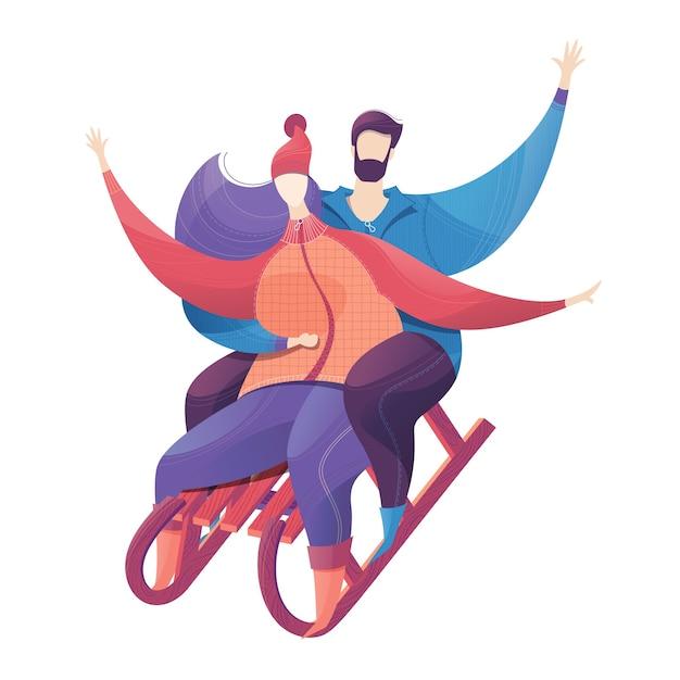 Мужчина и женщина катаются на санках зимний отдых на свежем воздухе время вместе