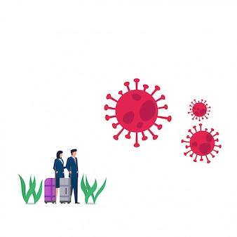남자와 여자는 코로나 바이러스 때문에 여행을 멈췄습니다. 비즈니스 평면 개념 그림입니다.