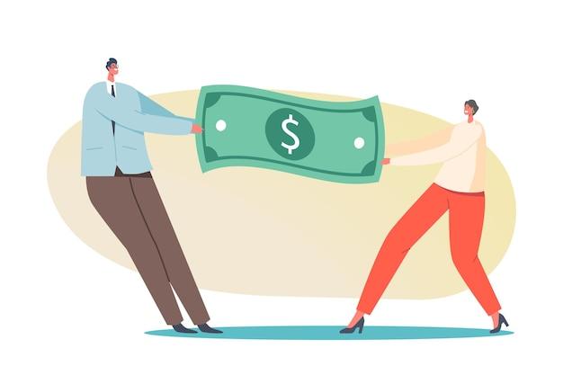 남자와 여자는 돈 개념을 위해 투쟁합니다. 달러 지폐를 당기는 남성과 여성 캐릭터는 리더십과 성 평등, 경력 경쟁, 급여를 위해 싸웁니다. 만화 사람들 벡터 일러스트 레이 션