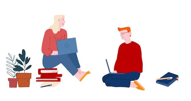 Студенты мужчины и женщины сидят на полу