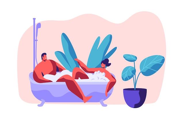 男と女はバスルームで泡と一緒にお風呂に入ります。幸せな若いカップルはロマンチックなホームタイムをお楽しみください。バスタブスパデイでの2人の人間の恋人のリラクゼーション。フラット漫画ベクトルイラスト