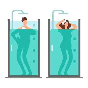 Мужчина и женщина принимают душ векторные иллюстрации