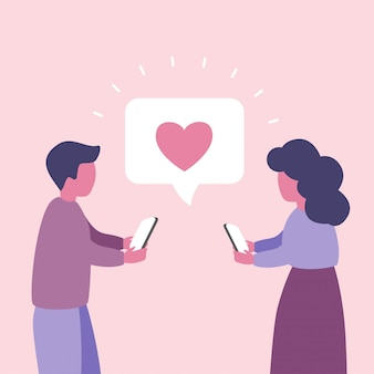 남자와 여자는 사랑 개념 그림에 대해 이야기. 소셜 네트워크 커뮤니케이션. 데이트 앱. 가상 관계.