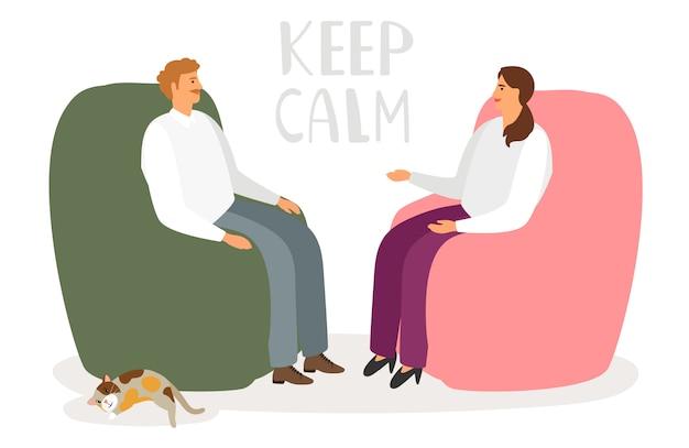 Мужчина и женщина разговаривают в непринужденной обстановке