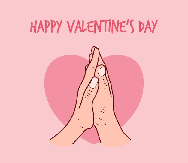 남자와 여자는 발렌타인 데이에 손바닥을 만져