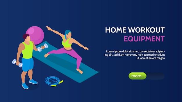 Мужчина и женщина тренируются дома с фитнес-оборудованием изометрические горизонтальный баннер 3d