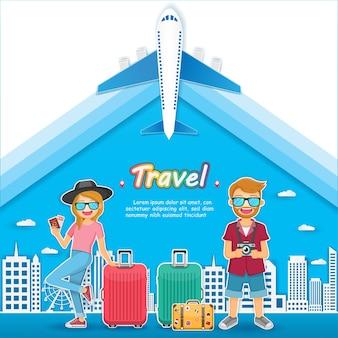 남자와 여자 여행자 세계 개념 여행.