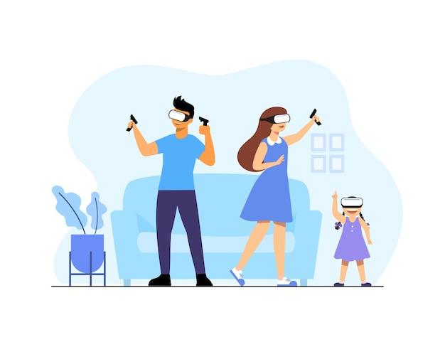 증강 현실 기술을 사용하는 남녀, 사용 중인 가상 현실 헤드셋. 그들은 vr 고글 현대 기술을 착용합니다. 가상 현실 헤드셋을 사용하여 집에서 온라인 게임을 즐깁니다.