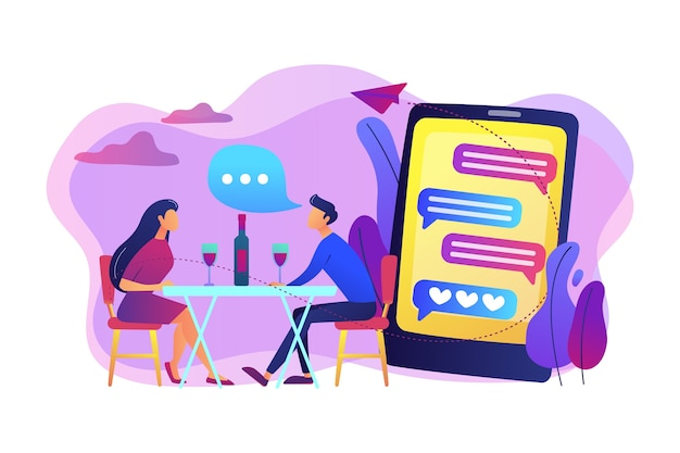 Мужчина и женщина используют приложение для онлайн-знакомств на смартфоне и встречаются за столом, крошечные люди. свидание вслепую, быстрые знакомства, концепция службы онлайн-знакомств.