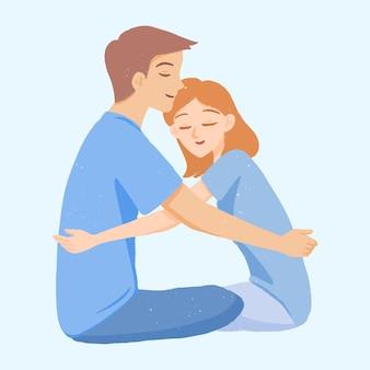 Мужчина и женщина тепло обнимаются милые иллюстрации рисованной