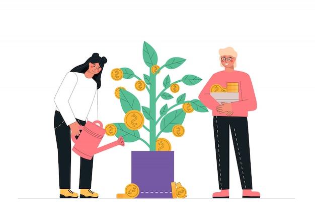 Мужчина и женщина поливают денежное дерево, пассивный доход, инвестиции, финансовые сбережения.