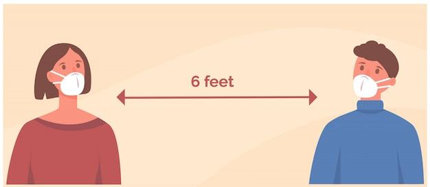 お互いから6フィート2メートルの安全な距離でフェイスマスクを身に着けている男女。社会的距離。