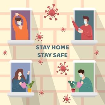 検疫のために外を見ながら窓のマンションに立っているフェイスマスクを着ている男女。 covid-19コロナウイルスの発生を防ぐために、人々は社会的距離として家にいます。ベクター。