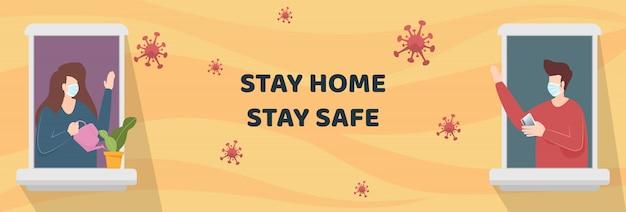Лицо мужчины и женщины носить маски, стоя на окнах кондоминиума, глядя снаружи на карантин. люди остаются дома в качестве социальной дистанции для защиты от вспышки коронавируса covid-19. вектор.