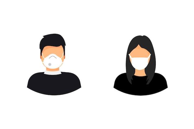 医療用フェイスマスクを着用した男女。エピデミック、インフルエンザ予防、ウイルスの回避。コロナウイルス。 2019-ncov。検疫。病気やインフルエンザを予防するために医療用マスクを着用している人