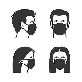 의료용 얼굴 마스크를 쓴 남자와 여자. 프로필 및 전면 보기입니다. 남성과 여성의 아바타 디자인.