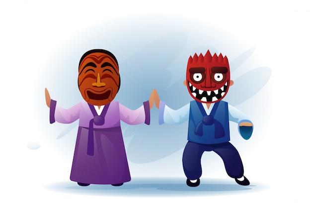 전통적인 아시아 옷을 입고 남자와 여자 기모노와 부족 마스크 춤 아시아 전통 공연