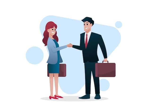 남자와 여자 서류 가방 흔들어 손, 비즈니스 또는 투자자 개념, 그림 프리미엄 벡터