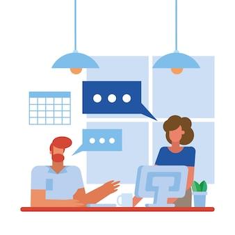 사무실 디자인, 비즈니스 개체 인력 및 기업 테마의 책상에 컴퓨터와 남자와 여자