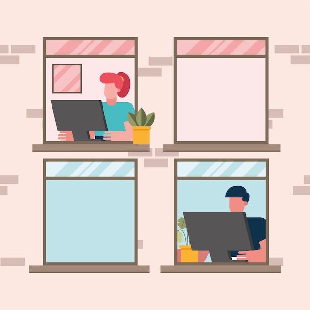 Мужчина и женщина с компьютером, работающим в окне из дома дизайн удаленной работы темы векторные иллюстрации