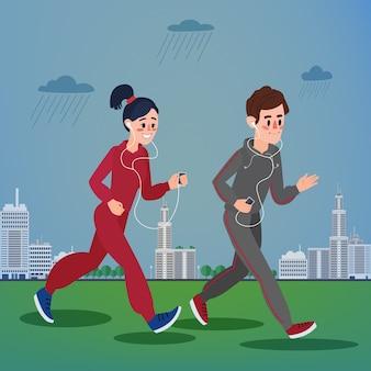 Мужчина и женщина с наушниками бегут в мегаполисе