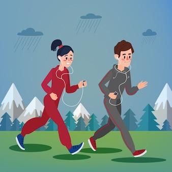 Мужчина и женщина с наушниками бегут в лесу и в горах