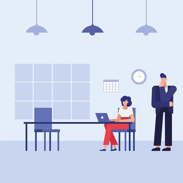 사무실 디자인, 비즈니스 개체 인력 및 기업 테마 책상에 노트북을 가진 남자와 여자
